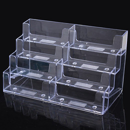 Wholesale Wholesale Shoe Display Stand - 8 Lattice box Acrylic Card Stand Storage Boxes Desktop Clear Transparent Business Card Holder Countertop Display Stand