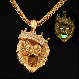 party glows 2018 - Glow In The Dark Crown Lion Tiger Pendant Necklaces Gold Color Rock Animal Necklaces For Women Men Jewelry