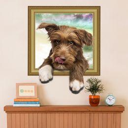 Девушки обои онлайн-3D wallpaper simulation cute dog fake photo frame boy girl room Wall stickers bedroom living room decorative murals