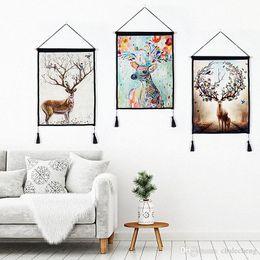 2019 foto di fiori rosa neri 2 pezzi / set Modern Home Living Room Decor Cotone Lino Pittura Deer Horn Wall Art Hanging arazzi Dipinti con nappe