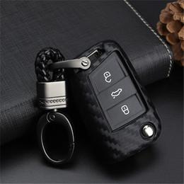 cubierta para el telecontrol del coche Rebajas Peacekey Carbono Llave Del Coche Cubierta Del Caso para VW Golf 7 GTI MK7 Octavi A7 Seat Leon Ibiza Flip Key Key Llavero Remoto Envío Gratis