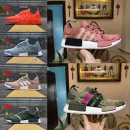 Wholesale Black Toe Shoes - wholesale 2018 NEW NMD R1 Again Monochrome Primeknit PK Running Shoes Men Women Triple Black White Red Pink Runner R1 Sneakers eur 36-45