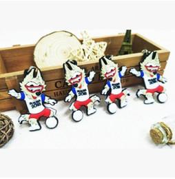 Wholesale Jade Cups - 2018 Russian World Cup Abudhabi Waka Key Chian Russian Mascot Souvenir Soccer Keychain Creative Zabivaka keychains