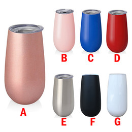 Wholesale egg boxes - 6oz tumbler Egg Cups Stemless Wine glasses Cup Double Wall Stainless Steel tumblers Vacuum Insulated 27 colors Beer Mugs with gift box
