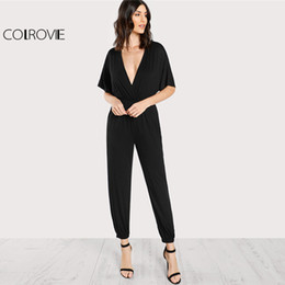 15f7bb95ca COLROVIE 2018 Deep V Neck Batwing Sleeve Mid Waist Jumpsuit Black Elastic  Waist And Leg Kimono Jumpsuit Women Casual