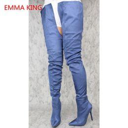 83b0f8deb3dd Emma King 2018 Fashion Women Thigh High Boots Crotch Stiletto Sexy Woman  High Heels Shoes Denim Ladies Over The Knee Boots