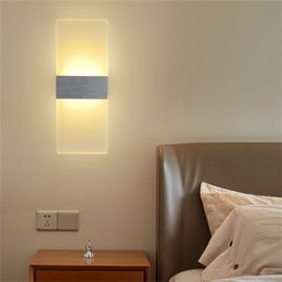 Wholesale Wall Mounted Bedside Lights - 2pcs LED Modern Minimalist Mini Sconce Interior Wall Lamp Surface Mounted Home Decoration Fashion Stair Bedside Light AC85-265V