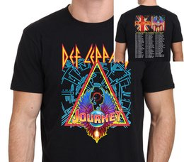Wholesale Black Journey - Def Leppard with Journey North American Tour 2018 T shirt Men two sides casual gift tee USA Size S-3XL
