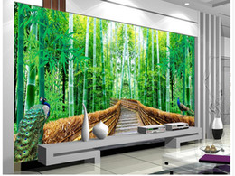 Wholesale background forest - Photo any size 3d bamboo forest trail landscape background wall painting mural 3d wallpaper factory direct sale