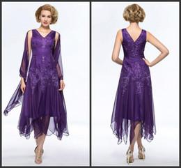 vestido de longitud de té de gasa púrpura Rebajas 2018 Nueva elegante gasa púrpura té-longitud madre de la novia viste con abrigo más tamaño v-cuello hueco espalda vestidos de la madre