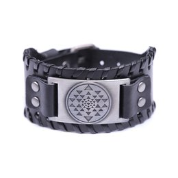 Wholesale Channel Choose - Fashion Mandala CHAKRA 3rd Eye Hindu Goddess Yoga Sri Yantra wide leather charm bracelet three color could choose best gifts