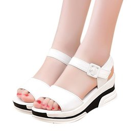 Wholesale Low Platform Wedges - Mokingtop Women's Summer Sandals shoes women 2018 open heeled sandals Platform Shoes woman Open Toe Gladiator wedges shoe #0504