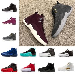 Wholesale metal cotton - 2018 Hot New 12 Men's Basketball shoes 12s the Master Black leather stitching metal buckles sports Sneakers shoes size 8-13