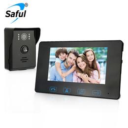 Porta telefônica porta elétrica on-line-Saful 7''color TFT LCD com fio de vídeo porta telefone interfone impermeável telefone de vídeo com função de controle de bloqueio elétrico Handfree