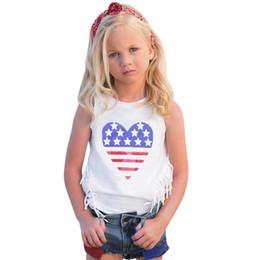 Meninas do bebê Conjunto de Roupas 4o De Julho Star Stripe Tops Colete + Denim Shorts Outfits Star Print Sem Mangas Roupas Diarias supplier daily star de Fornecedores de estrela diária