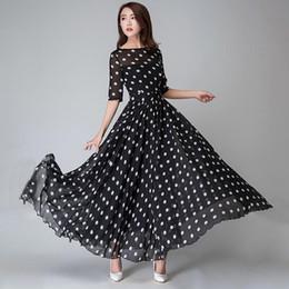 a35c65f34d6 2019 шифоновое платье в горошек длинное платье макси Женщины черный горошек  платье шифон элегантный винтажный принт
