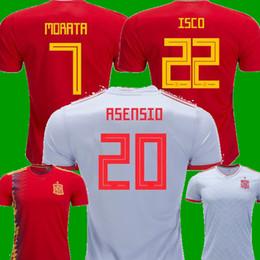 Wholesale Espana Jersey - Thailand 2018 Spain Home Asensio ISCO RAMOS MORATA Soccer Jerseys 2019 Espana camisetas Away white SILVA PIQUE A INIESTA FABREGAS Shirts