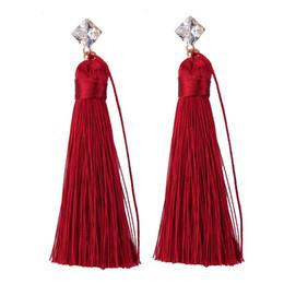 Orecchini di corda online-Bohemia Diamonds Dangle Long Rope Nappe Temperamento Eardrop per le donne Fashion Nappe Ciondola orecchino Multicolor Elegant Eardrop