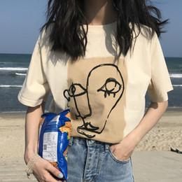 2019 t-shirt design gesicht KYMAKUTU Chic Design Gesicht Gedruckt T Shirts Kurzarm O Neck T-shirt Femme Poleras Mujer Frauen Kleidung 2018 Sommer Neue Tops rabatt t-shirt design gesicht