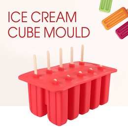 Wholesale Household Mould - Household Diy Lolly Silicone Ice Cream Cube Mould 10 Case Tray Pan Kitchen Frozen Ice Molds Popsicle Maker Popsicle Tools