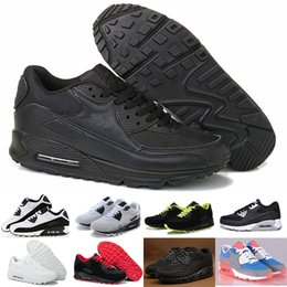 Wholesale Air Hard - Mens Sneakers Shoes classic 90 Men and women Running Shoes Black Red White Sports Trainer Air Cushion Surface Breathable Sports Shoes 36-46