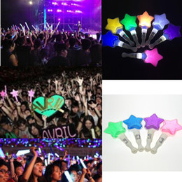 Wholesale concert supplies - Free shipping pentagram LED stick light star cheering glow stick concert supplies props wedding event party decoration