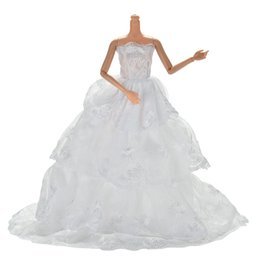 toy wedding dress Coupons - handmake Fashion White Princess Evening wedding Dress Clothing Gown For doll Clothes Doll dress 1Pcs