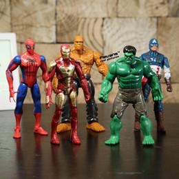 Wholesale Good Things - Superheroes Iron Man The Thing Hulk Captaib America Spiderman Pvc Action Figures Toys 5pcs  Set Hrfg398