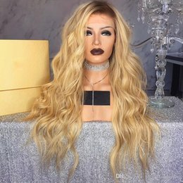 Wholesale Long Sexy Hair Wigs - Sexy Long Body Wave Ombre Blonde Wig Glueless Synthetic Lace Front Wigs With Baby Hair Heat Resistant Hair Fiber Wigs For Black Women