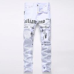 2019 jeans lavati in pietra Jeans uomo biker Jeans Homme stampati 3D Lettera Hi Stree Slim Fit Jeans Stone lavato Jeans Hip Hop in cotone punk sconti jeans lavati in pietra
