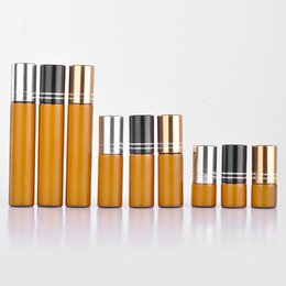 Wholesale Empty Aluminum Case - Wholesale 100 Pieces 5ML Mini Brown Glass Refillable Perfume Bottle With Aluminum Cap Empty Portable Essential Oils Case
