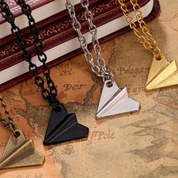 paper aircrafts Promo Codes - Europe United States Popular Origami Plane Black Gold Silver Plated Necklace Simple Paper Tiny Aircraft Airplane Styles Jewelry