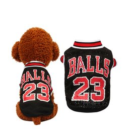 Wholesale Fashion Season T Shirts - Spring and summer fashion Basketball uniform pet dog clothes Breathable vests mesh for teddy dog clothes