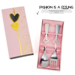 Wholesale wholesaler giveaways - Stainless Steel Dinnerware Sets European Style Love Heart Creative Wedding Giveaway Portable Fork Spoon Set Party Favor CCA9837 100pcs