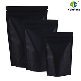 Wholesale Black Snacks - 12x18cm (4.7x7inch) 100pcs barrier heat seal Retail Package bag black aluminum foil ziplock stand up pouches for tea snacks