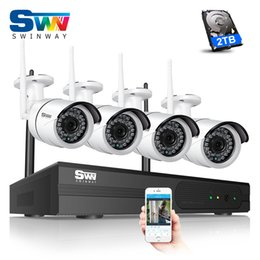 Wholesale Mobile Security Systems - P2P Plug And Play 4CH Wireless NVR CCTV Camera System 2TB HDD 1080P HD Outdoor Indoor Weatherproof WIFI IR Security Cameras Mobile APP