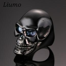 Wholesale Wholesale Sports Horns - Wholesale- Liumo Cool Black 316L Stainless Steel Ring Skull For Men Unique Gothic Punk Retro Sport Biker Skeleton Male Finger Rings lr010