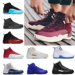 Wholesale glitter women - NEW 2018 Cheap 12 XII Mans Basketball Shoes Sneakers Women Taxi Playoffs Gamma Blue Grey Sports Running Shoes For men US 5.5-13
