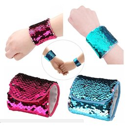 Wholesale mermaid bracelets - Reversible Mermaid Sequin Bracelet Wristband Cuff Sequins DIY Women Girls Wearable Bangle Wrist Band Charm Jewelry Wedding Favors