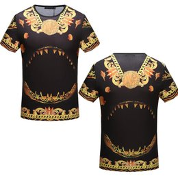 Wholesale Print Dress Baroque - Luxury Mens T-shirts 2018 Hot Medusa t shirts Gold Chain Floral Printed Baroque cool tshirt Brand designer Short Sleeve Famous dress Shirts