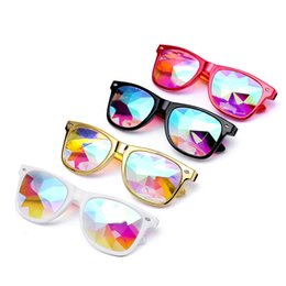 Wholesale Rave Sunglasses - Man Women Sunglasses Kaleidoscope Glasses Rave Festival Party EDM Sunglasses Diffracted Lens Cycling Eyewear #2A19