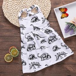 tier überqueren kinder Rabatt 2018 neue Baby Mädchen Kleider Dinosaurier Tier gedruckt Halfter Baumwolle zurück Kreuz Kleid Sommer Kinder Kleidung 6M-3T Babys Mädchen Kleidung