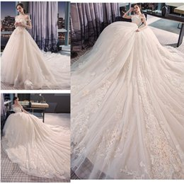 Wholesale Girl Princess Dress Up - Charming Ball Gown Wedding Dresses Lace Applique Off Shoulder Sleeves Monarch Train Sweet Girls Bride Wedding Dresses
