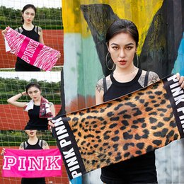 Wholesale child spa - New 2018 Leopard Letter Pink Bath Towel 70*140cm Gym Sports Picnic Beach Towel 75*35cm Hand Towels Spa Running Fitness Towels HH7-1008