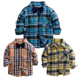 Argentina 2018 Primavera Otoño Niños bebés Camisas a cuadros Niño Niños Niños Camisetas de manga larga Camisa Bajar el cuello Blusa Suministro