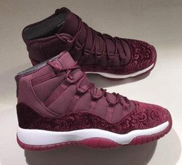 sneaker flowers Promo Codes - High Quality 11 11s Velvet Heiress Flowers Pattern Men Women Basketball Shoes 11 Velvet Wine Red Night Maroon Sports Sneakers With Box
