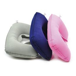 almohada terapia de sueño Rebajas En forma de U Almohada Inflable Protección de Niños Cuello Almohada de Viaje Para Avión Coche Plegable Portátil Sit Sleep Herramientas