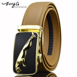 scorrevole automatico Sconti ZAYG Mens Leopard Belt di alta qualità di lusso cinghie di cuoio giallo nero uomo scorrevole a cricchetto con fibbia automatica Cintura classica di moda