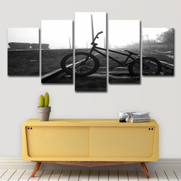 landscape photo painting hd Promo Codes - Oil Canvas Painting Modular Picture Wall Art Home Decor 5 Panel Railway Track Bicycle Landscape Photo Room HD Print