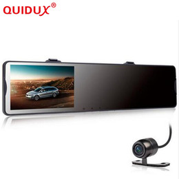 Wholesale front sensors for cars - QUIDUX 4.3inch Car DVR Mirror Video Recorder Camcorder Car Rearview Mirror Camera 2 Lens Front Rear 1080P G-sensor For
